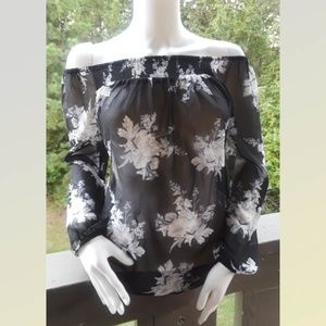 Off The Shoulder Floral Print Blouse long Sleeve M